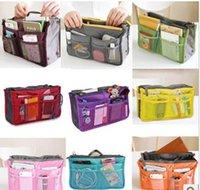 Wholesale 10 colors Bag in Bag Dual Insert Multi function Handbag Makeup Pocket Organizer Purse
