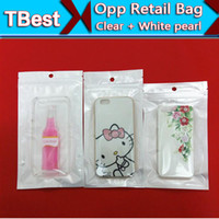 Wholesale Clear White Pearl Plastic Poly Bags OPP Packing Zipper Lock Package Accessories PVC Retail Boxes Hand Hole for iPhone for Samsung Phones