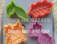 Wholesale cheap color diy d three dimensional push cookie biscuits mould plungers press cutter set leaves style