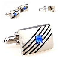 Wholesale Black Stripe Sapphire Best Cufflinks Noble Silver High Quality Cuff Links for Men Shirt Wedding French Cool Gift Men Cufflinks