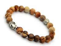 semi precious loose beads - 2015 Hot Sale Jewelry Natural Picture Jasper Loose Semi Precious Stone Beads Men s Antique Silver Buddha Bracelets Strech