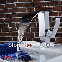 Wholesale 50 off Sale Cheapest Solid Brass Modern Waterfall Bath Bathroom Sink Basin Faucet Mixer Tap Single Handle Chrome Finish