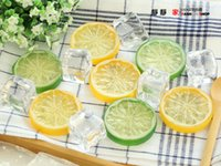 Wholesale Simulation lemon slices two divalent photography props food cup water with ornaments shooting props camera