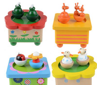 wood sheep - 2015 Wooden Cute Animals Music Box Kids Boys Girls Frog Ladybird Sheep Deer Bee Music Toys Child Wood Animal Musical Boxes Toy D3687