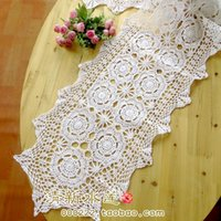 Cheap 2014 new fashion handmade hook cotton needle crochet table cloth table runner for home decor towel cover as innovative item