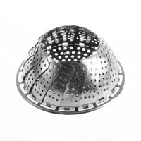 Wholesale 1pc Folding Stainless Mesh Food Dish Vegetable Egg Fruit Steamer Basket Cook Poacher Promotion