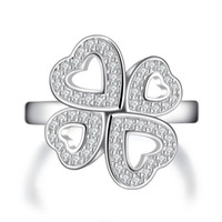 Cheap Clover Wedding Ring Sets For Women White Gold Plated Jewelry CZ Diamond Engagement Bague Bijoux Luxury Accessories MSR187