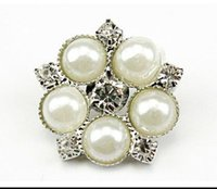 Wholesale 2015 Hot metal rhinestone buttons with pearl for Hair Flower Wedding Invitation Scrapbooking best quality free ship