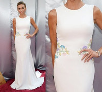 Wholesale 2016 Oscar Minimumism Celebrity Dresses Giuliana Rancic White Round Neck Embroidery Satin Mermaid Court Train Red Carpet Evening Gowns