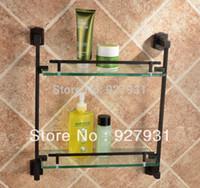 bathroom caddies - Wall Mount Oil Rubbed Bronze Bathroom Double deck Caddy Cosmetic Shelf w Glass Board