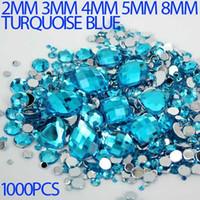 lab created - High shine Mix Sizes turquoise blue Round strass Acrylic Loose Non Hotfix Flatback Rhinestone Nail Art loose Stones For Wedding Decorations