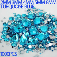 turquoise stones - Mix Sizes turquoise blue Round strass Acrylic Loose Non Hotfix Flatback Rhinestone Nail Art loose Stones For Wedding Decorations