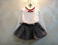 Wholesale Autumn Girls Thicken Sets Royal Cotton Long Sleeve Bowknot Lace Shirts Pleated Skirt Girl Outfits Children Clothing White