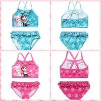 Wholesale 2Color Kids Princess Anna Elsa set Swimsuit Cute Baby Kids Tutu Swimwear Girls Cartoon Bikini Children Beach Swimming Clothing By DHL