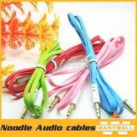 Wholesale 3 mm male to male flat noodles Car Aux Extended Audio Auxiliary Cable for MP3 for phone