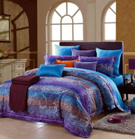 Cheap Egyptian cotton blue purple striped luxury bedding comforter set king queen size duvet cover sheets bedspread bed in a bag sheet