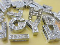 South American slide charms - 520pieces mm full rhinestone slide letter A Z diy charms fit mm belt Bracelets