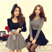 houndstooth dress - Fashion Women Dresses Houndstooth Pattern Long Sleeve Mini Dresses Casual Dresses Brand New FG4