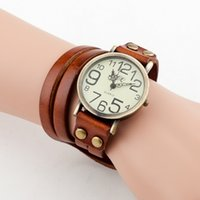 Wholesale 9 Colors Antique Watch Fashion Wrap Winding Vine Watch Cow leather Bracelet Watches Ladies Women Wristwatches