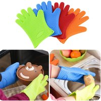 Wholesale Heat Resistant Silicone Glove Cooking Baking BBQ Oven Pot Holder Mitt Kitchen BlueHot New Arrival