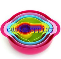Wholesale DHL Freeshipping NEW Multi function rainbow kitchen tools sets Measuring spoon Bowl Mixing bowl Basin Creative kitchen utensils cooking to