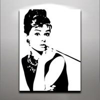 achat en gros de mode décor de mur d'art-Audrey Hepburn - Fashion Queen élégant Lady Peinture à l'huile imprimée sur toile Wall Art pour l'hôtel de la maison Office Fantastic Decor