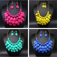 Wholesale Fashion Girls And WomenTeardrop Resin Chunky Bubble Bib Statement Necklace Earrings Sets Party Wedding Pendant Necklace As Gifts ZJ16 N07