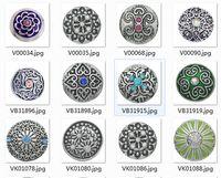 al por mayor botón de aleación de zinc-50pcs mxied 50 diseños de cristal trozos de zinc de la aleación del esmalte Noosa 20MM 5.5mm broche botón de jengibre complemento Trozos mosquetones joyería