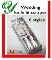 Wholesale wedding cake knife server set wedding favors stainless steel knives cmheart butterfly resin handle gift box table decoration wedding gifts