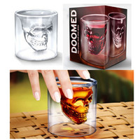 Wholesale Doomed Crystal Skull Cup Skull Head Vodka Whiskey Shot Glass Pirate Vaccum Glasses Beer Mug Drinking Ware ml ounces Free DHL Factory