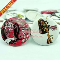 christmas pins - Novelty Gifts Cute Monster High Cartoon Buttons Pins Badges Round Brooch Badges MM Diameter Decorate Clothing Bags Christmas Gitfs