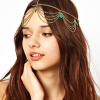 Wholesale European Fashion Metal Jewelry Bohemia Gold Chain Hair Jewelry Tassel Hair Bands For Women Hot Sale