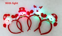 Wholesale Christmas Head Band Headdress With LED Light For Navidad Party Ornaments Props Costume Xmas Cheap Girl Gift