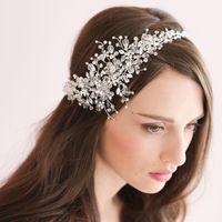 Cheap 2015 New Luxury Handmade bridal hair accessories bands Rhinstone And Crystal Floral Fashion Bridal Headband Headpiece For Brides 2016