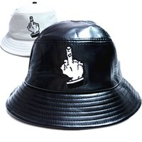 Cheap 2015 pu leather cap embroidered flat basin hat brand casual fisherman hat fashion couple fuck lwtter bucket hats for women men