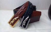 fashion belts - Jaguar Man s Leather belt Copper buckle Crocodile pattern leisure art style