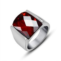 Cheap 2016 Titanium Steel Rings Natural Agate Ring Fashion 2 Styles Black Red Gems Ring For Men