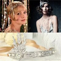 bridal tiara - Hot Great Gatsby Vintage Headbands Hair Bands Headpieces Bridal Wedding Jewelries Accessories Silver Crystals Rhinestone Pearls CPA237