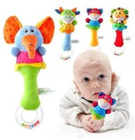 Wholesale 2015 Hot designs Soft toys Animal Model Handbells Rattles ZOO Squeeze Me Rattle Cute Gift Baby Educational toy Age for M