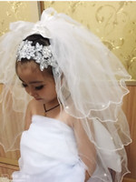 Wholesale Lovely Girls Veils with Bow Beaded Four Layers Netting Hot Sale White and Ivory Flower Girls Veils For Wedding Girls Hair Accessory DH5