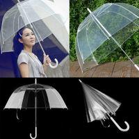Wholesale 1pc New Long Handle Color Transparent Umbrella Rain Women Semi automatic Umbrellas Paraguas new hot free shippig