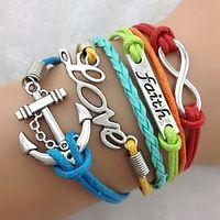 Wholesale Faith Love Anchor Bracelet Antique Silver Charm Bracelet