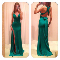 Wholesale New European Fashion Women s Prom Dress Deep V Neck Slim Bandage Slit Long Dress Sexy Backless Clubwear Cocktail Party Dress Red Green Blue