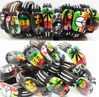 Wholesale 20pcs New styles Mix Mens Legend Bob Marley Leather Bracelets Jamaica Jewelry