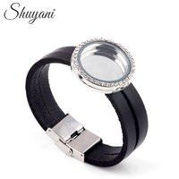 Wholesale Floating Locket Bracelets for Women Men Leather Bracelet Crystal Locket Bracelet with Rhinestone