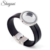 Wholesale Floating Locket Bracelets for Women Men Leather Bracelet Crystal Locket Bracelet with Rhinestone
