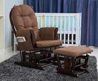 baby rocking chair cushions - Wood Rocker Chair And Ottoman Feeding Baby Living Room Furniture Modern Ergonomic Adult Cushioned Rocking Chair Glider Rocker Design