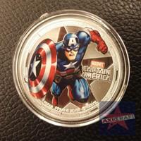 america souvenir - Captain America Silver Plated Colorized Coin oz Token Comics Movie coin souvenir coin Commemorative coin