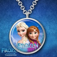 Wholesale New design fashion Frozen clothing accessories Time gemstone pendant necklace glass necklace Anna Elsa Necklace A072704