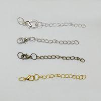 Broches de garra de langosta de 10mm cadenas de extensión extendida salto anillos colgante encantos del collar de la extensión joyería de la decoración que hace Encontrar el gancho del conectador